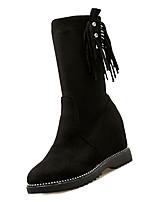 Недорогие -Жен. Fashion Boots Полиуретан Осень Минимализм Ботинки На плоской подошве Круглый носок Сапоги до середины икры Черный / Бежевый