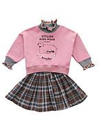 Недорогие -Дети Девочки Однотонный / Контрастных цветов Длинный рукав Набор одежды