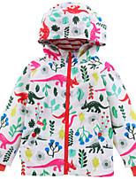 Недорогие -Дети Девочки Цветочный принт Длинный рукав Куртка / пальто