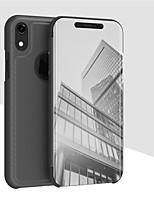 abordables -Coque Pour Apple iPhone XS / iPhone XR Avec Support / Plaqué / Miroir Coque Intégrale Couleur Pleine Dur faux cuir pour iPhone XS / iPhone XR / iPhone XS Max