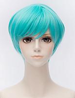 abordables -Accessoires pour Perruques Droit Coupe Dégradée Cheveux Synthétiques 10 pouce Animé / Cosplay Bleu Perruque Homme / Femme Court Sans bonnet Bleu clair