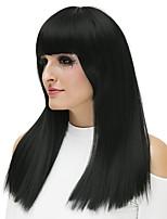 Недорогие -Wig Accessories Прямой Стрижка каскад Искусственные волосы 18 дюймовый Кейс / Модный дизайн Черный Парик Жен. Длинные Без шапочки-основы Черный