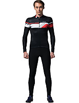 cheap -SPAKCT Men's Long Sleeve Cycling Jersey with Tights - Black / Red Bike Clothing Suit, Reflective Strips Fleece Stripe / YKK Zipper