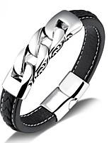 Недорогие -Муж. Старинный Кожаные браслеты - Титановая сталь, Платиновое покрытие Панк Браслеты Черный Назначение Для улицы