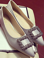 Недорогие -Жен. Комфортная обувь Сатин Весна & осень Свадебная обувь На плоской подошве Черный / Серый / Красный / Свадьба