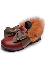 Недорогие -Девочки Обувь Полиуретан Наступила зима Детская праздничная обувь На плокой подошве для Дети Черный / Темно-красный / Темно-русый