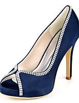 baratos -Mulheres Stiletto Cetim Primavera Verão Doce / Minimalismo Sapatos De Casamento Salto Agulha Peep Toe Pedrarias Roxo Escuro / Champanhe / Ivory / Festas & Noite