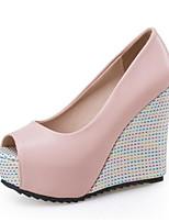 Недорогие -Жен. Комфортная обувь Полиуретан Лето Свадебная обувь Туфли на танкетке Белый / Розовый / Свадьба
