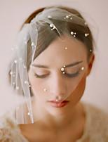 baratos -Uma Camada Estilo vintage / Estilo Clássico Véus de Noiva Véu Ruge com Perola Imitação / Cor Única Tule