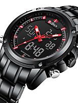Недорогие -Муж. Спортивные часы Наручные часы Японский Японский кварц 30 m ЖК экран С двумя часовыми поясами Повседневные часы Нержавеющая сталь Группа Аналого-цифровые Роскошь Мода Черный / Розовое золото -