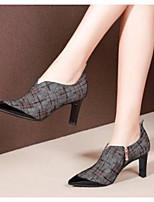 Недорогие -Жен. Fashion Boots Замша / Овчина Лето Ботинки На толстом каблуке Закрытый мыс Ботинки Черный / Красный