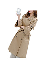 cheap -women's long trench coat - solid colored