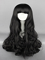 cheap -Synthetic Wig Cosplay Wig Wavy Wavy With Bangs Wig Very Long Natural Black Synthetic Hair Women's Black hairjoy