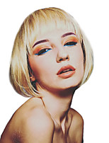 Недорогие -Человеческие волосы без парики Натуральные волосы Прямой Стрижка боб Природные волосы Золотистый Без шапочки-основы Парик Жен. На каждый день