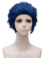 abordables -Accessoires pour Perruques / Accessoire de Costume Droit Coupe Dégradée Cheveux Synthétiques 12 pouce Animé / Cosplay Bleu Perruque Homme Court Sans bonnet Bleu
