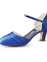 baratos -Mulheres Stiletto Cetim Verão Sapatos De Casamento Salto Robusto Ponta Redonda Presilha Amarelo / Prateado / Azul / Festas & Noite