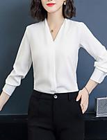 baratos -Mulheres Blusa Negócio / Básico Patchwork, Sólido