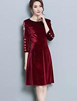 baratos -Mulheres Básico Evasê Vestido - Patchwork, Sólido Altura dos Joelhos