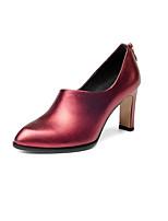 Недорогие -Жен. Балетки Наппа Leather Осень Обувь на каблуках На толстом каблуке Серебряный / Винный