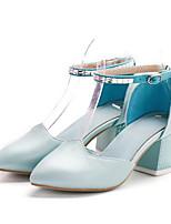 Недорогие -Жен. Комфортная обувь Полиуретан Лето Обувь на каблуках На толстом каблуке Черный / Синий / Розовый