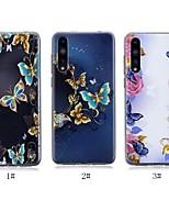 Недорогие -Кейс для Назначение Huawei P20 / P20 Pro Ультратонкий / Прозрачный / С узором Кейс на заднюю панель Бабочка Мягкий ТПУ для Huawei P20 / Huawei P20 Pro / Huawei P20 lite