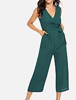 cheap -women's jumpsuit - solid colored wide leg v neck