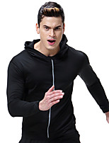 cheap -Men's Crew Neck Front Ziper Hoodie & Sweatshirt - Black Sports Solid Color Sweatshirt Running, Gym, Workout Long Sleeve Activewear Compression Micro-elastic