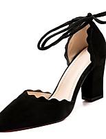 abordables -Femme Strappy Stacked Heels Polyuréthane Automne Chaussures à Talons Talon Bottier Bout pointu Noir / Gris / Rose / Quotidien