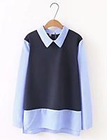 baratos -Mulheres Blusa Listrado Colarinho de Camisa