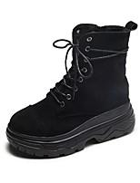 Недорогие -Жен. Армейские ботинки Замша Наступила зима Ботинки На плоской подошве Круглый носок Сапоги до середины икры Черный