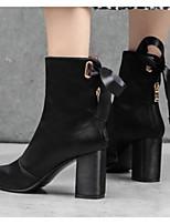 Недорогие -Жен. Fashion Boots Сатин Осень Ботинки На толстом каблуке Закрытый мыс Ботинки Черный / Хаки