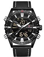 Недорогие -NAVIFORCE Муж. Спортивные часы Наручные часы Японский Японский кварц 30 m Защита от влаги Календарь Фосфоресцирующий Натуральная кожа Группа Аналоговый На каждый день Мода Черный -