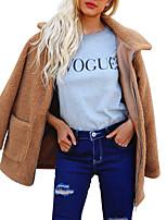 Недорогие -Жен. Пальто с мехом Классический / Изысканный - Однотонный