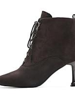 Недорогие -Жен. Fashion Boots Замша Осень Ботинки На шпильке Закрытый мыс Ботинки Черный / Темно-коричневый
