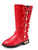 Недорогие -Девочки Обувь Полиуретан Наступила зима Ботильоны Ботинки Для прогулок Бант для Дети Черный / Красный / Розовый / Сапоги до колена