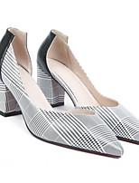 Недорогие -Жен. Балетки Наппа Leather Весна Обувь на каблуках На толстом каблуке Белый / Красный