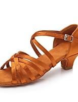 Недорогие -Жен. Обувь для латины Сатин На каблуках Толстая каблук Персонализируемая Танцевальная обувь Коричневый / Красный / Синий