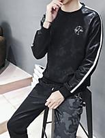 abordables -Homme Lacet / Poche 2pcs Survêtement - Noir, Vert Véronèse Des sports Couleur Pleine Pantalon / Surpantalon / Shirt Fitness, Faire des exercices Tenues de Sport Respirable, Doux Elastique Mince