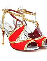 baratos -Mulheres Sapatos Confortáveis Cetim Verão Saltos Salto Agulha Branco / Preto / Vermelho