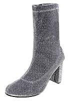 Недорогие -Жен. Fashion Boots Полиуретан Осень Ботинки На толстом каблуке Круглый носок Черный / Серебряный