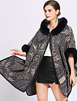 cheap -Long Sleeve Faux Fur / Core Spun Yarn Wedding / Party / Evening Women's Wrap With Pattern / Print Capes