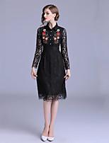 Недорогие -Жен. Оболочка Платье - Цветочный принт, Вышивка Средней длины
