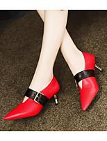 Недорогие -Жен. Балетки Наппа Leather Весна Обувь на каблуках Гетеротипическая пятка Черный / Красный