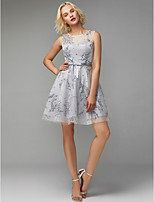 cheap -A-Line Jewel Neck Short / Mini Tulle Cocktail Party Dress with Bow(s) / Pattern / Print by TS Couture®