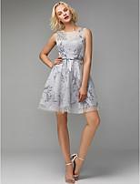 economico -Linea-A Con decorazione gioiello Corto / mini Tulle Cocktail Vestito con Fiocco (fiocchi) / A fantasia / stampa di TS Couture®