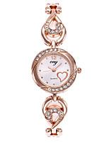 Недорогие -Жен. Часы-браслет Наручные часы Кварцевый Повседневные часы сплав Группа Аналоговый Heart Shape Мода Золотистый - Золотистый