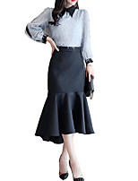 Недорогие -Жен. Классический Блуза Юбки Однотонный / Контрастных цветов