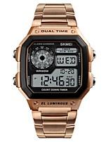 Недорогие -Муж. электронные часы Цифровой Секундомер С двумя часовыми поясами Фосфоресцирующий Нержавеющая сталь Группа Цифровой На каждый день Черный / Серебристый металл / Золотистый -
