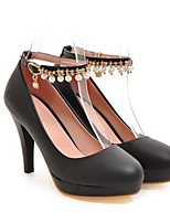 baratos -Mulheres Sapatos Confortáveis Couro Ecológico Primavera Saltos Salto Agulha Branco / Preto / Rosa claro