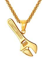 baratos -Homens Fashion Colares com Pendentes - Aço Inoxidável Fashion Dourado, Preto, Prata 55 cm Colar Jóias 1pç Para Presente, Diário